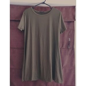 tunic length Khaki green t-shirt.  New without tag